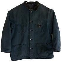 Vintage 90s Dickies Blanket Lined Denim Chore Coat Jacket Size Xl Work Green Photo