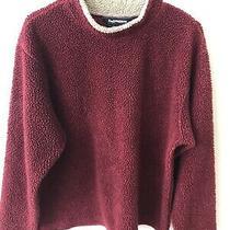 Vintage 90s Early Winters Deep Pile Fleece Crew Sweater Sweatshirt Maroon L Photo