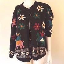 Vintage 90s Express Compagnie Internationale Cardigan Sweater Floral Elephant S Photo
