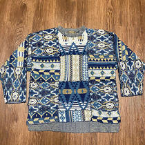 Vintage 90s Express Oversized Tricot Blue Cardigan Sweater People One Size Photo