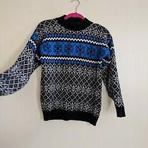 Vintage 90s Fair Isle Snowflake Blue Black American Pride Knit Sweater Womans M Photo