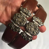 Vintage 90s Fossil Leather Silver Buckle Embellished  Belt M Photo