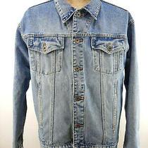 Vintage 90s Fossil Trucker Denim Jean Jacket Light Wash Blue Mens Size Large Photo