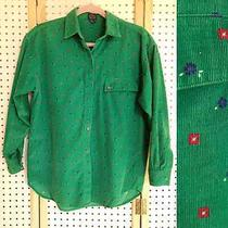 Vintage 90s Gap Corduroy Flower Collard Button Up  Over Sized Small Pocket Photo
