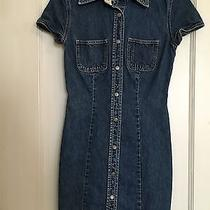 Vintage 90s Gap Denim Cap Sleeve Button Down Dress Sz 0 Small Stretch 1999 Cute Photo