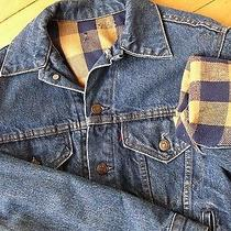 Vintage 90s Grunge Flannel Lined Levi's Denim Jean Trucker Jacket 4 Pocket - S Photo