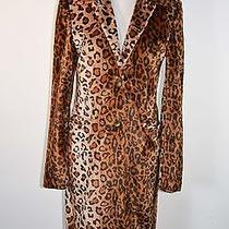 Vintage 90s Leopard Faux Fur Abs Grunge Kid Club Rave Minimalist Coat Sz P/s Photo