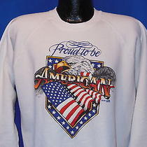 Vintage 90s Proud to Be an American White Crewneck Puffy Paint Sweatshirt Xl Photo