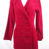 Vintage 90s Rampage Red Velvet Double Breasted Coat Jacket Dress S Photo