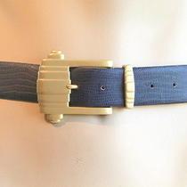 Vintage 90s Ritz Accessory Collection Blue Leather Croc Belt Art Deco Buckle M/l Photo