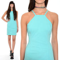Vintage 90s Square High Neck Club-Kid Grunge Clueless Bodycon Stretch Dress M Photo