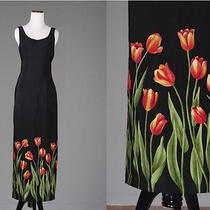 Vintage 90s Tulip Floral Flower Black Maxi Dress Sleeveless Grunge Rampage Xs Photo