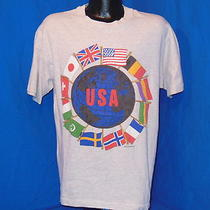 Vintage 90s Usa Flags of the World Grey Heathered Japan Germany Un T-Shirt Lrg L Photo