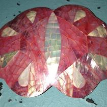 Vintage Abalone Mother of Pearl  Shell Pink and White Butterfly  Belt Buckle Photo