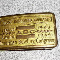 Vintage Abc Bowling Belt Buckle - American Bowling Congress 1963-1964 - Small Photo