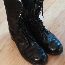 Vintage Addison Black Military Named Combat Boots Size 9 R Photo