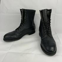 Vintage Addison Made in Usa Black Leather Military Combat Jump Boots Size 10 W Photo