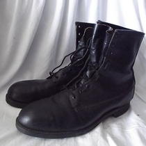Vintage Addison Shoe Co.  Military Black Leather Boot Mens Size 12      --(Lh- Photo