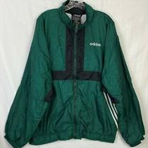 Vintage Adidas 90's Men's Green Windbreaker Jacket W/black & White Lined 20d Photo