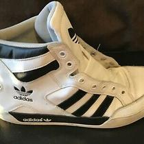 Vintage Adidas High Top Sneakers Shoes White With Black Stripes Mens Size 9 1/2 Photo