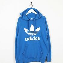 Vintage Adidas Originals Big Trefoil Logo Hoodie Sweatshirt Blue  Medium M Photo