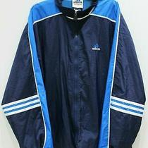 Vintage Adidas Windbreaker Track Jacket Mens Xl Blue Vented Striped Sleeves Logo Photo