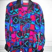 Vintage Adrianna Papell Silk Leather Trimmed Print Blouse Photo
