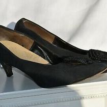 Vintage Agnes Sorel Designs New York Black Silk Pumps Size 9 Photo