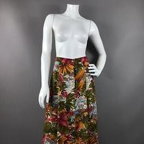 Vintage Alexander Campbell Tropical Print Maxi Button Front Skirt Womens Small Photo