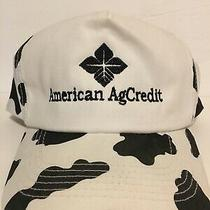 Vintage American Ag Credit Embroidered Logo Cow Print Snapback Hat Photo
