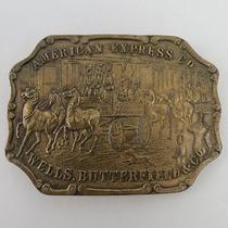 Vintage American Express Co Wells Butterfield & Co Brass Belt Buckle A5 Photo