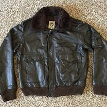 Vintage American Express Leather Flight Bomber Black Jacket Size 46 Photo