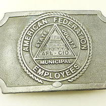 Vintage American Federation Employees Afl-Cio Belt Buckle Photo