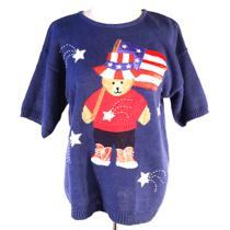 Vintage American Flag Teddy Bear Sequin Knit Sweater Sweatshirt S Photo