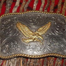 Vintage American Golden Eagle Montana Silversmith Sterling Silver Pl Buckle Photo