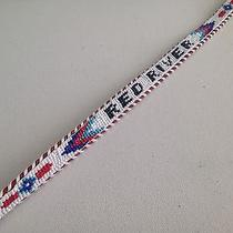 Vintage American Indian  Thunderbird Red Beaded Leather Belt  Sz S 28-32 Photo