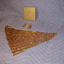 Vintage and or Antique Whiting & Davis Mesh Chainmail Neck Piece Scarf Earrings  Photo