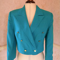 Vintage Anne Brooks Petite Jacket Blazer Designer Aqua Linen Look Neon on Trend Photo