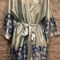 Vintage Anne Klein 2pc Silky Satin Sky Blue Nightgown & Robe Lingerie Set L / Xl Photo