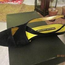 Vintage Anne Klein Couture Black Suede Slingbacks Flat Heel  Shoe  7 M Photo