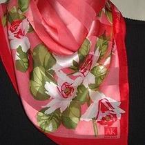 Vintage Anne Klein Lion Logo Pink/green Floral Silk Neckerchief Scarf 21