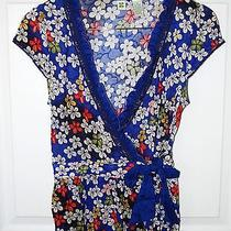 Vintage Anthropologie 'Clover' Blue Floral Print Wrap Shirt Size M Photo