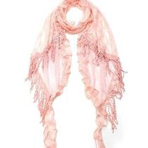 Vintage Anthropologie Romantic Blush Rose Pink Flower Polka Dot Lace Shawl Scarf Photo