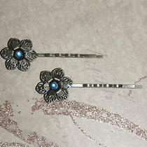 Vintage Antique Brass Filigree Flower & Blue Crystal Hair Pin Photo