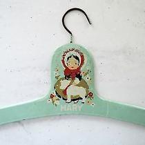 Vintage Antique Childs Painted Wooden Hanger Mary Lamb Green Paint 1930s 1940s Photo