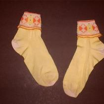 Vintage Antique Girl 1920's Yellow Orange Silk Fancy Fold Down Socks  204 Photo