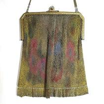 Vintage Antique Whiting Davis Dresden Mesh Purse Bag Handbag Fluted Fringe Photo