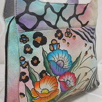 Vintage Anuschka Hand-Painted Leather Zip Pocket Hobo Handbag Photo