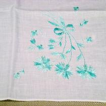 Vintage Aqua Blue Floral Embroidered Dainty Sheer White Cotton Hanky Photo