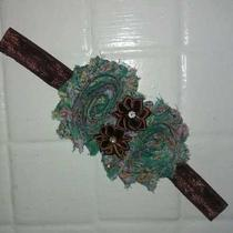 Vintageaquaflower Printbrownshabbyroseflowerphotopropheadband Photo